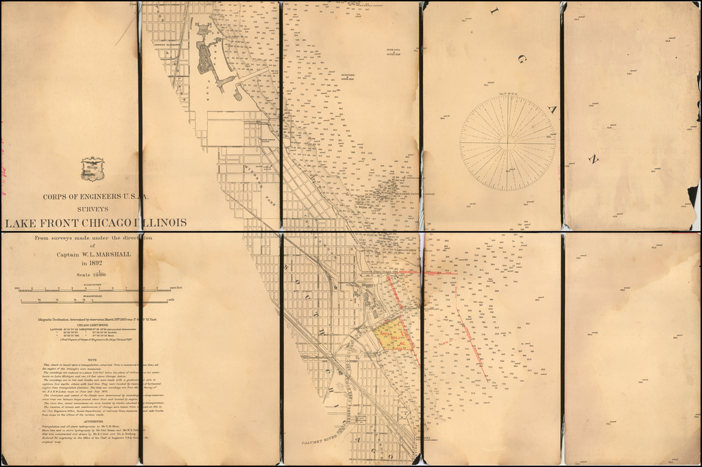 Lake Front Chicago Illinois From Surveys made under the direction of Captain W.L. Marshall in 1892. By U.S. Army Corps of Topographical Engineer