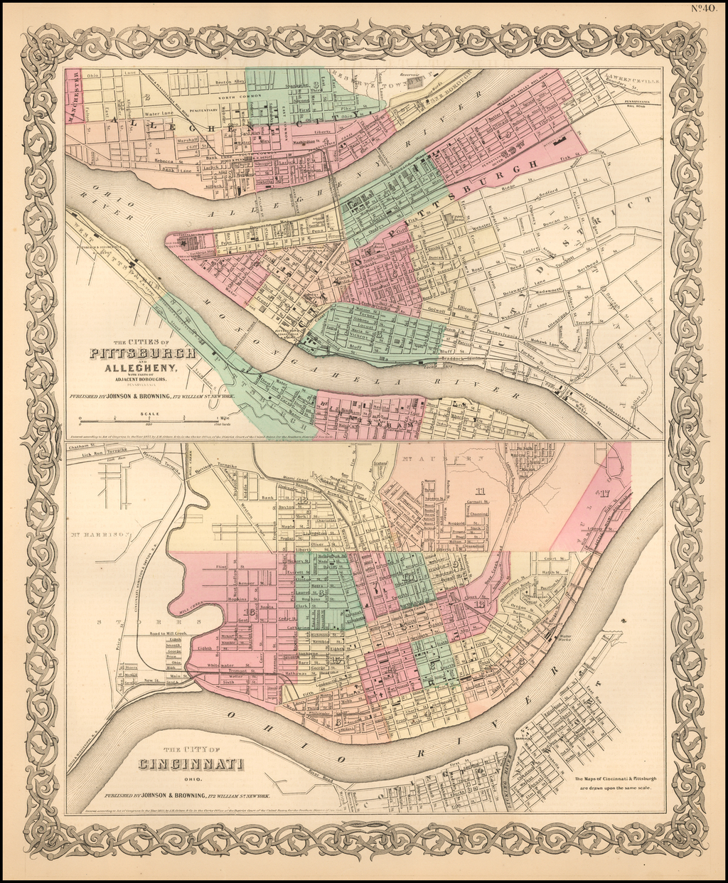 The Cities of Pittsburgh and Allegheny with Parts of Adjacent Boroughs [with] The City of Cincinnati Ohio. By Joseph Hutchins Colton