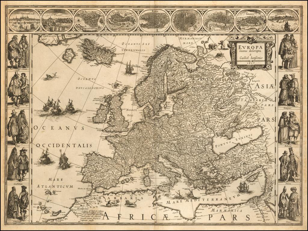 Europa recens descripta a Guiliel: Ianssonio 1617  (First State!) By Willem Janszoon Blaeu