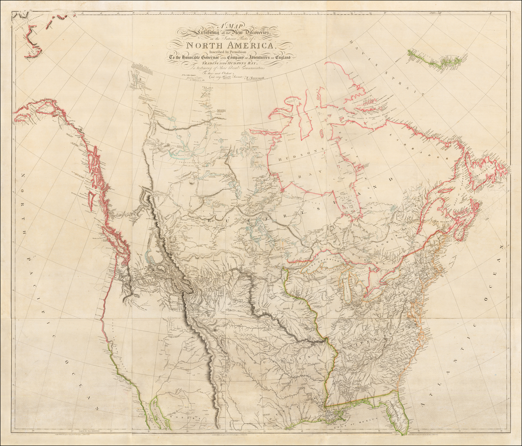 A Map Exhibiting all the New Discoveries in the Interior Parts of North America.  Inscribed by Permission To the Honorable Governor And Company of Adventurers of England Trading Into Hudsons Bay  In testimony of their liberal Communications . . . Additions to 1811.  Additions to June, 1814. By Aaron Arrowsmith