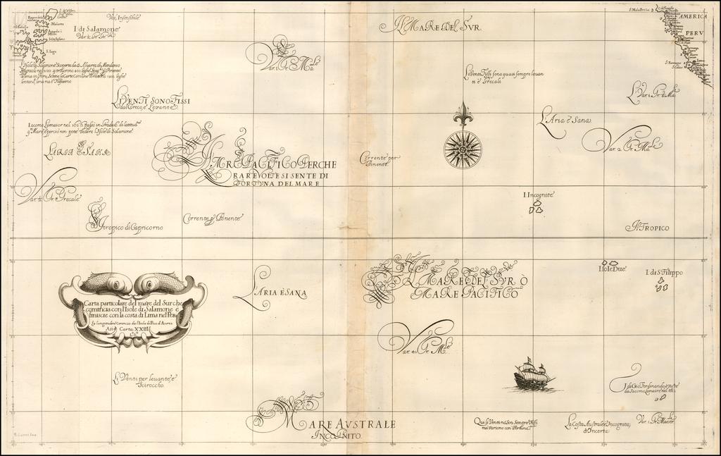 Carta particolare del mare del Sur che comincia con l'Isole di Salamone e finiscie con la coast di Lima nel Peru . .  . By Robert Dudley