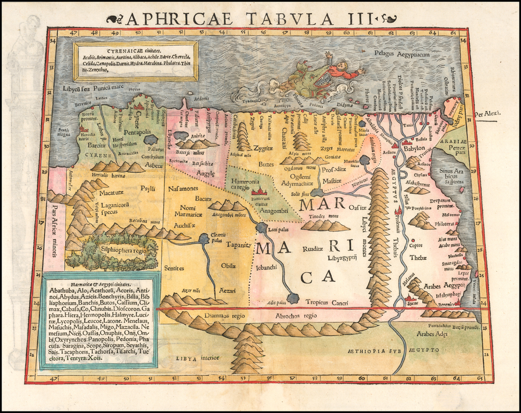 Tabula Aphricae III [includes Babylon, the Nile and the Red Sea] By Sebastian Münster