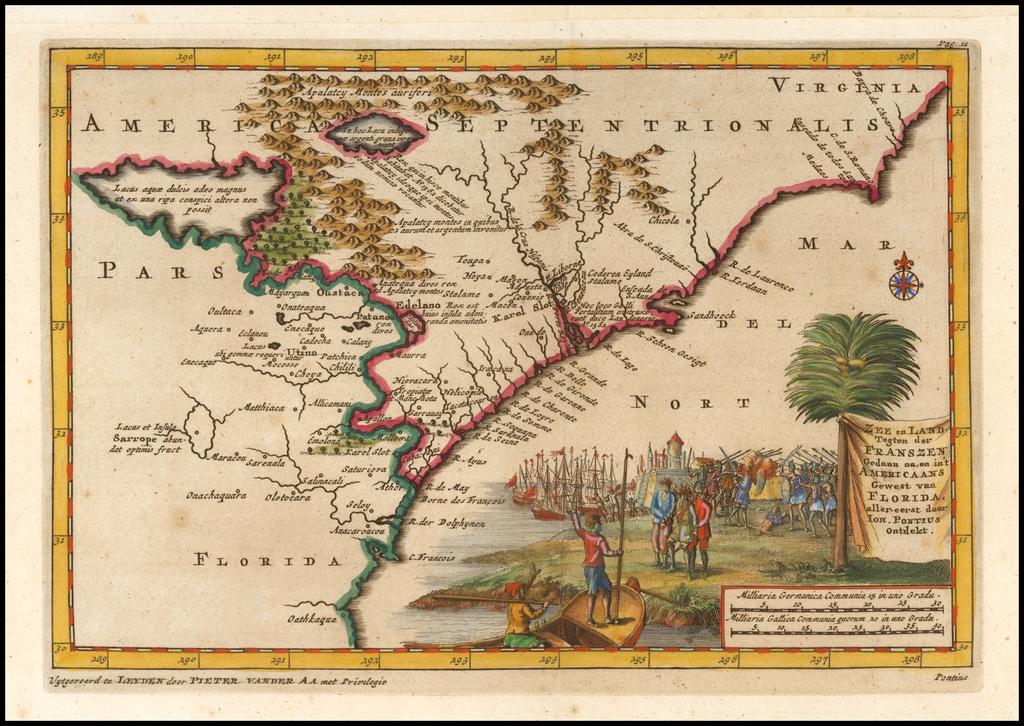 Zee en Land togten der Franszen Geaan na,en in't Americaans Gewest van Florida, aller-eerst door Joh. Pontius ontdekt By Pieter van der Aa
