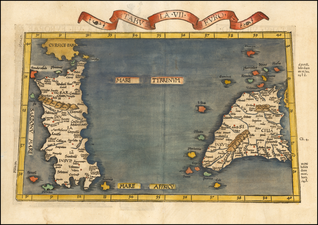 (Sicily and Sardinia) Tabula VII Euro. By Lorenz Fries