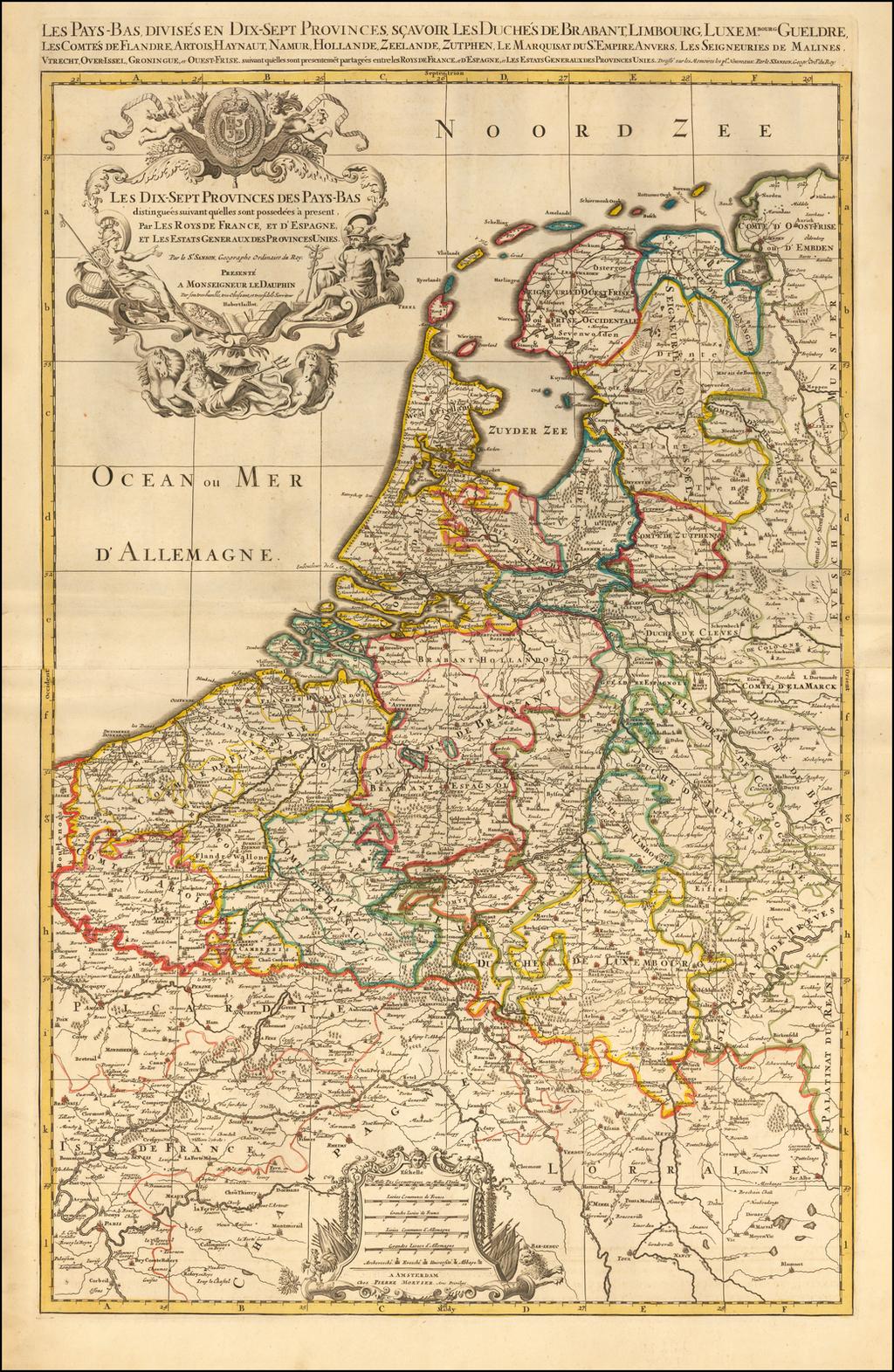 Les Dix-Sept Provinces Des Pays-Bas distinguees suivant qu'elles sont possedees a present, par Les Roys De France, et D'Espagne, et Les Estats Generaux des Provinces Unies. By Alexis-Hubert Jaillot