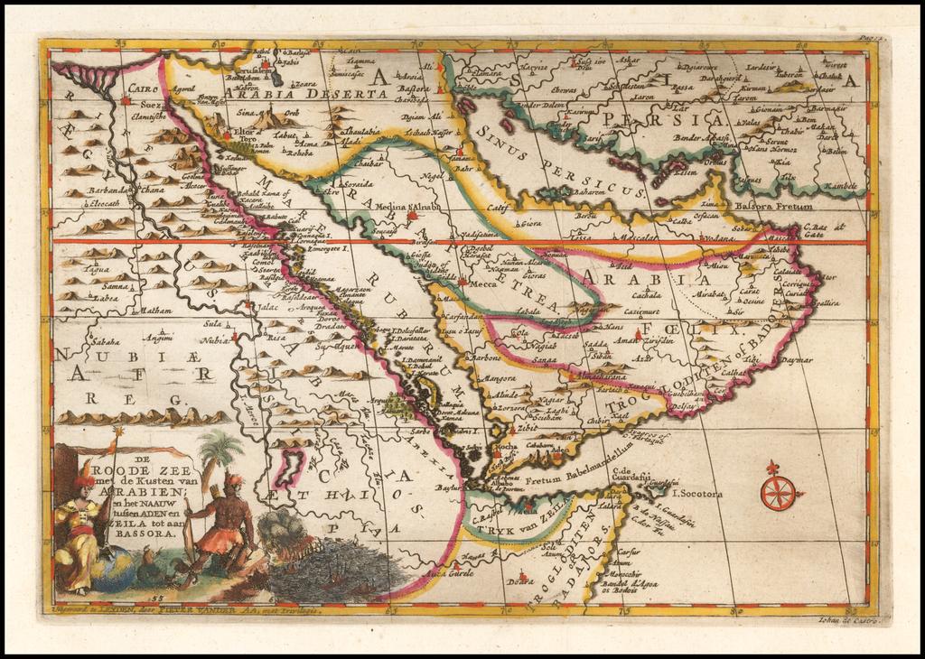 De Roode Zee met de Kusten van Arabien; en het Naauw tussen Aden en Zeila tot aan Bassora By Pieter van der Aa