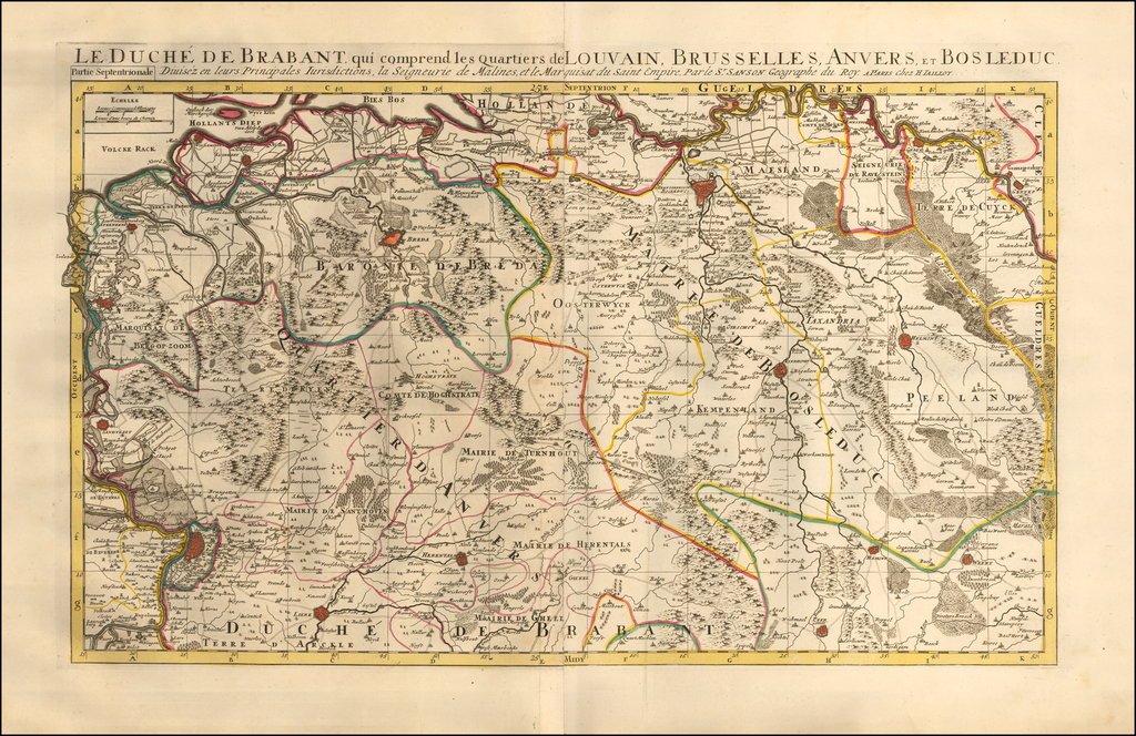 Le Duche De Brabant qui comprend les quartiers de Louvain.  Brusselles, Anvers, et Bosleduc. By Alexis-Hubert Jaillot