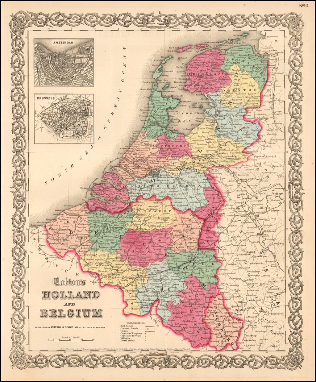 Holland and Belgium (Amsterdam and Brussels insets) By Joseph Hutchins Colton