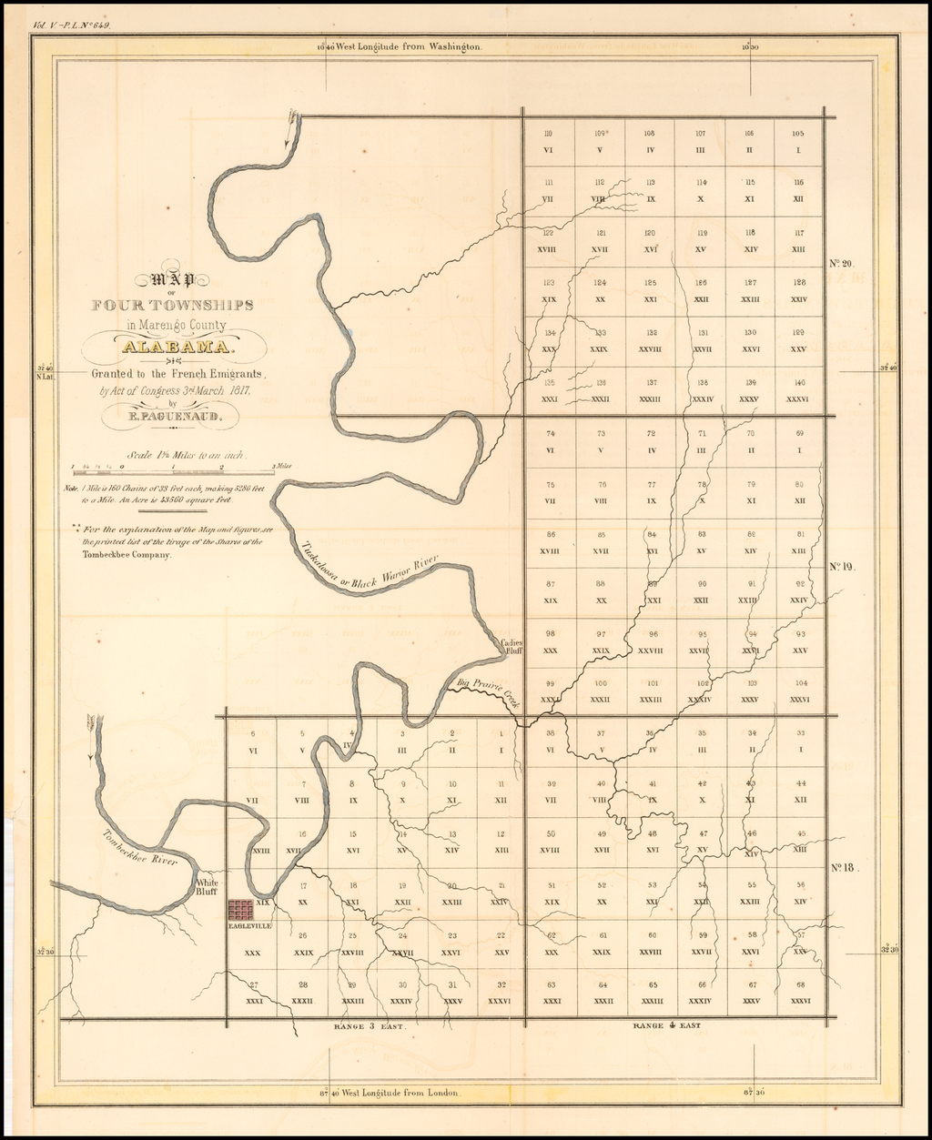 Map of Four Townships in Marengo County Alabama;  Granted to French Emigrants by Acto of congress 3rd March 1817.  By E.  By E. Paguenaud