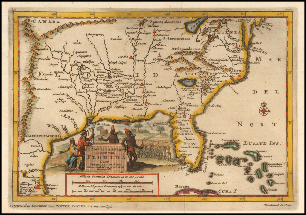 'T Amerikaans Gewest van Florida Door Ferdinand De Soto . . .   By Pieter van der Aa