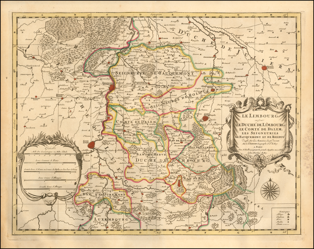 Le Limbourg ou font Le Duche de Limbourg le comte de Dalem; Les Seigneuries de Fauquemont et de Rolduc By Alexis-Hubert Jaillot