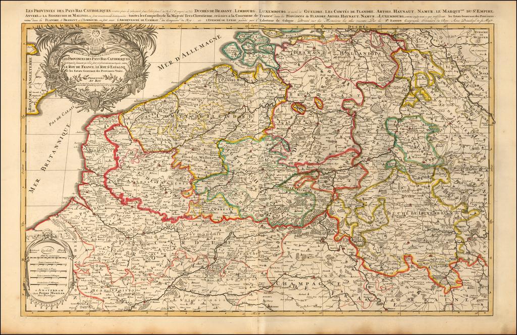 Les Provinces Des Pays-Bas Catholiques distinguees suiuant qu'elles sont presentement partagees entre Le Roy De France, Le Roy D'Espagne, et les Estats Generaux des Provinces-Vnies. By Pieter Mortier