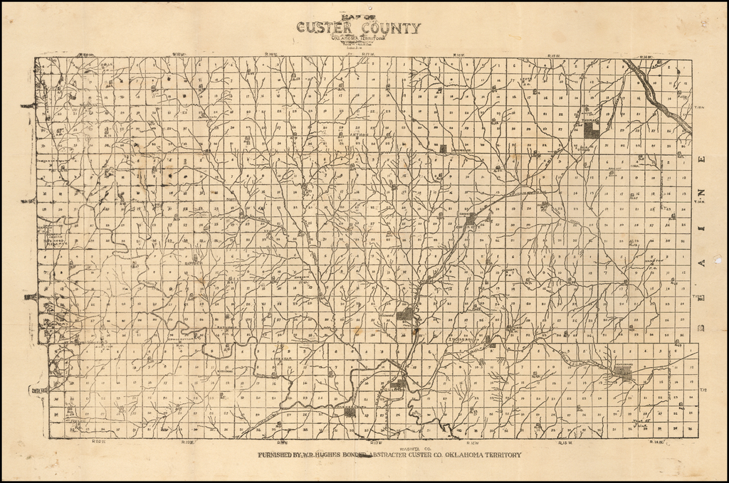Map of Custer County Oklahoma Territory . . .  By W.  R. Hughes