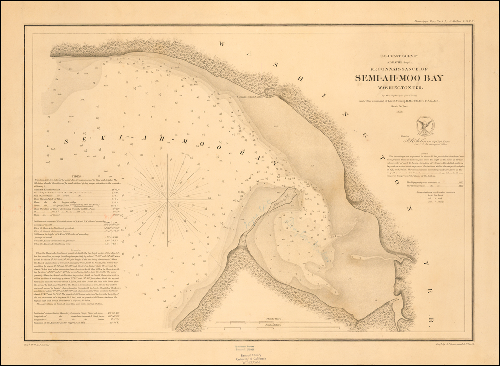 Reconnaissance of Semi-Ah-Moo Bay Washington Ter. By the Hydrographic Party under the command of Lieut. R.M. Cuyler U.S.N. Asst  . .  .1858  (Thick Paper copy) By United States Coast Survey - George Davidson