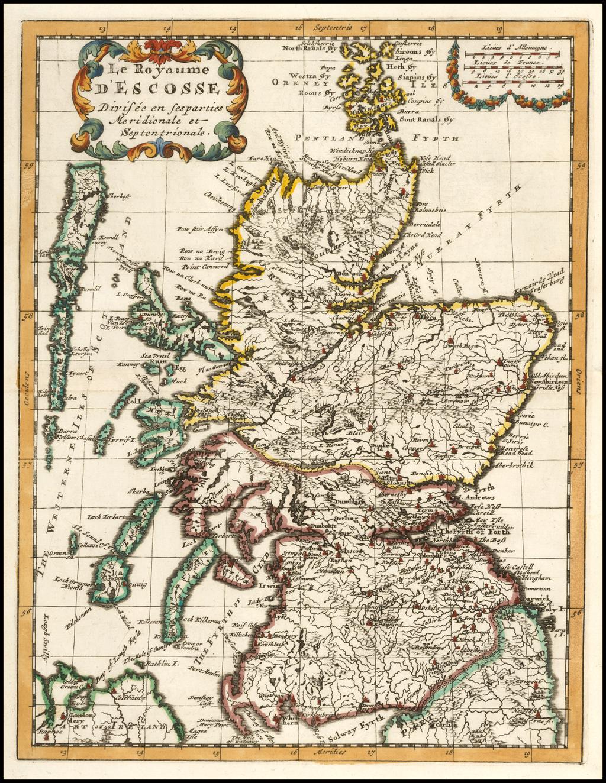 Le Royaume D'Ecosse Divisee en ses parties Meridionale et Septentrionale. By Anonymous