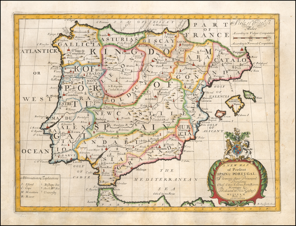 A New Map of Present Spain & Portugal Shewing their Principal Divisions Chief Cities, Townes, Ports, Rivers, Mountains &c. By Edward Wells