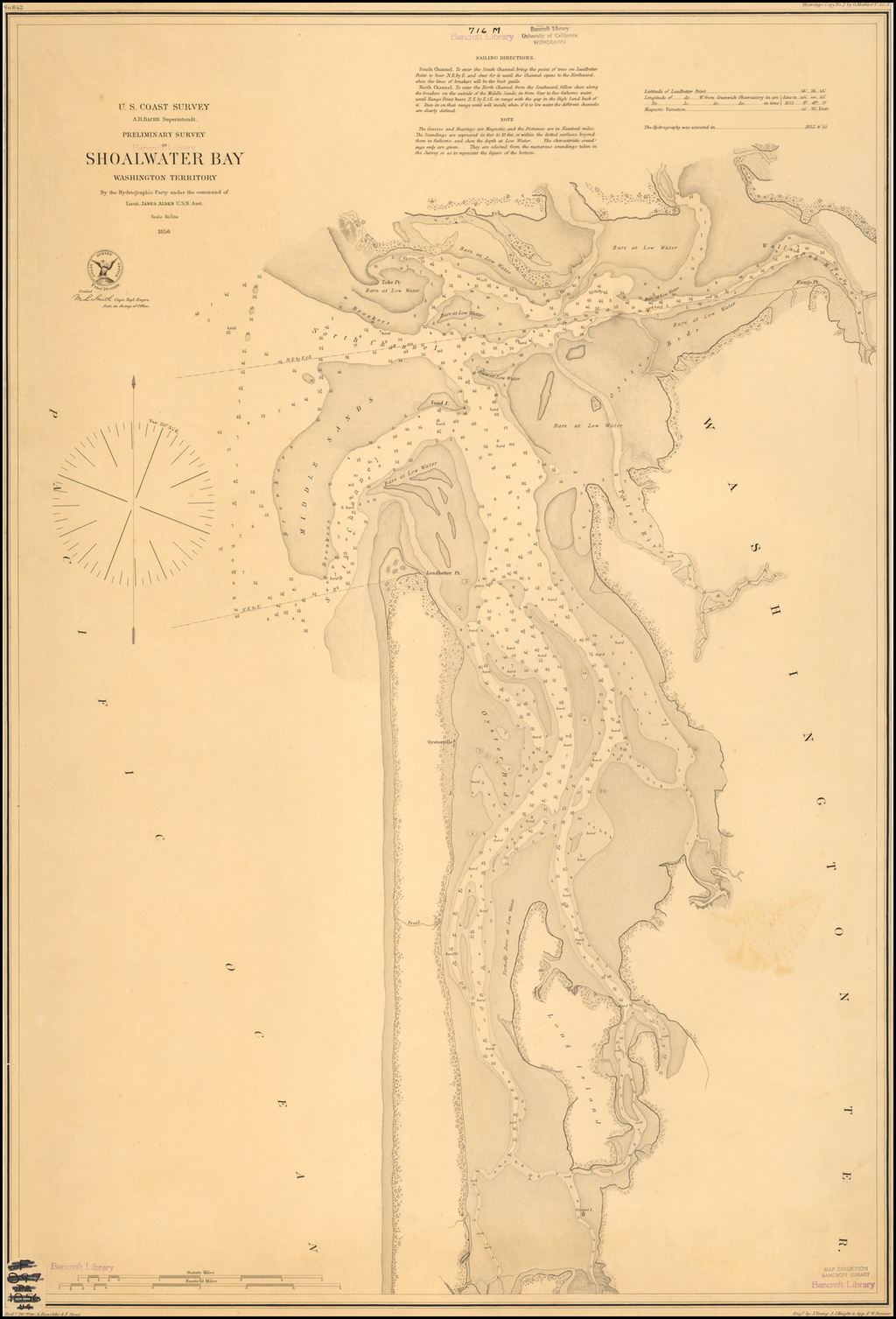 Preliminary Survey of Shoalwater Bay Washington Territory  By the Hydrographic Party under the command of Lieut. James Alden U.S.N. Asst.  . . . 1856 By United States Coast Survey / George Davidson