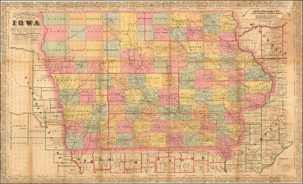 A Township Map of the State of Iowa  Compiled from the United States Surveys, offical information and personal reconnaissance, showing the Streams, Roads, Towns, Post Offices, County Seats, Works of Internal Improvements,  &c &c.  . . . 1856 By Henn, Williams & Co.
