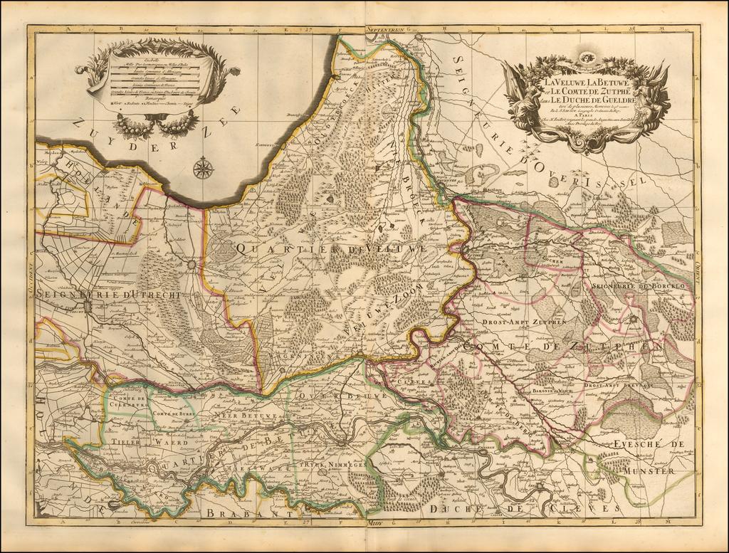 La Veluwe La Betuwe et Le Comte De Zutphe dans Le Duche de Gueldre ... By Alexis-Hubert Jaillot