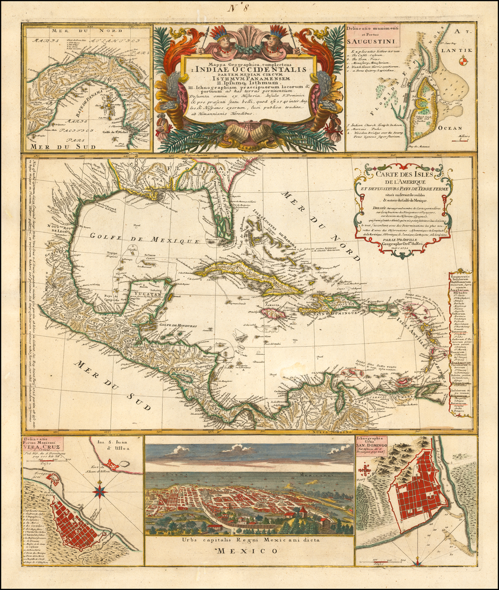 Mappa Geographica Complectens I. Indiae Occidentalis Partem Mediam Circum Isthmum Panamensem [Large Inset of St. Augstine, Florida] By Homann Heirs