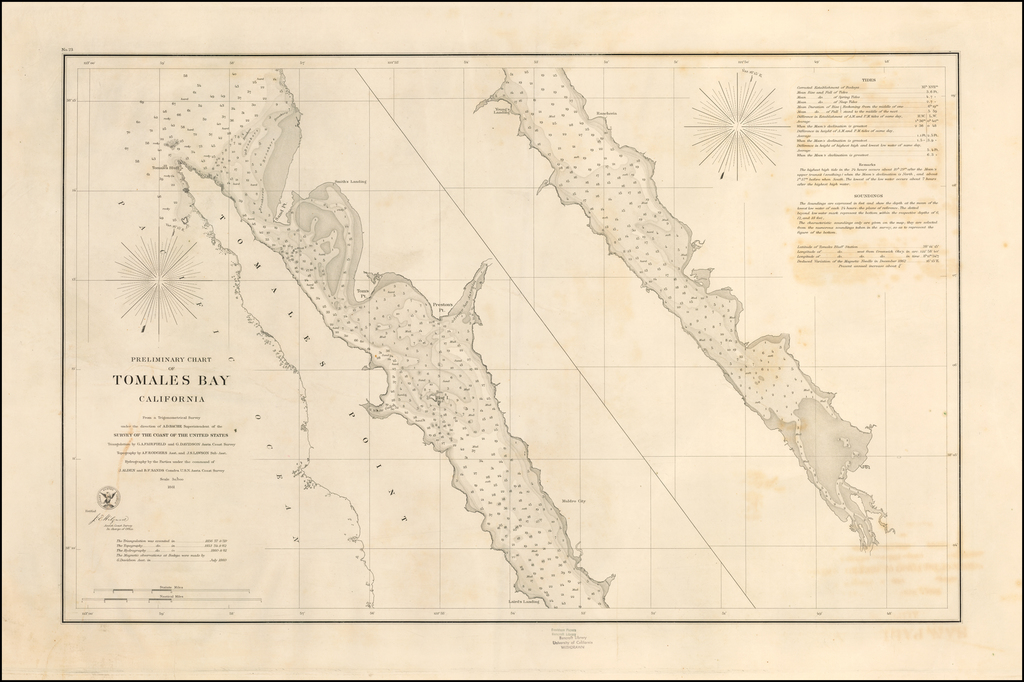 Preliminary Chart of Tomales Bay California  . . . 1861 By United States Coast Survey / George Davidson
