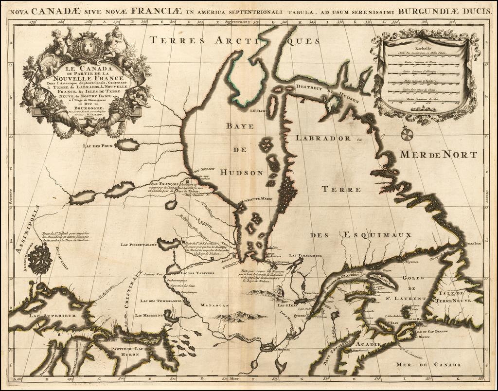 Le Canada ou Partie De La Nouvelle France Dans l'Amerique Septentrionale . . . 1696 By Alexis-Hubert Jaillot