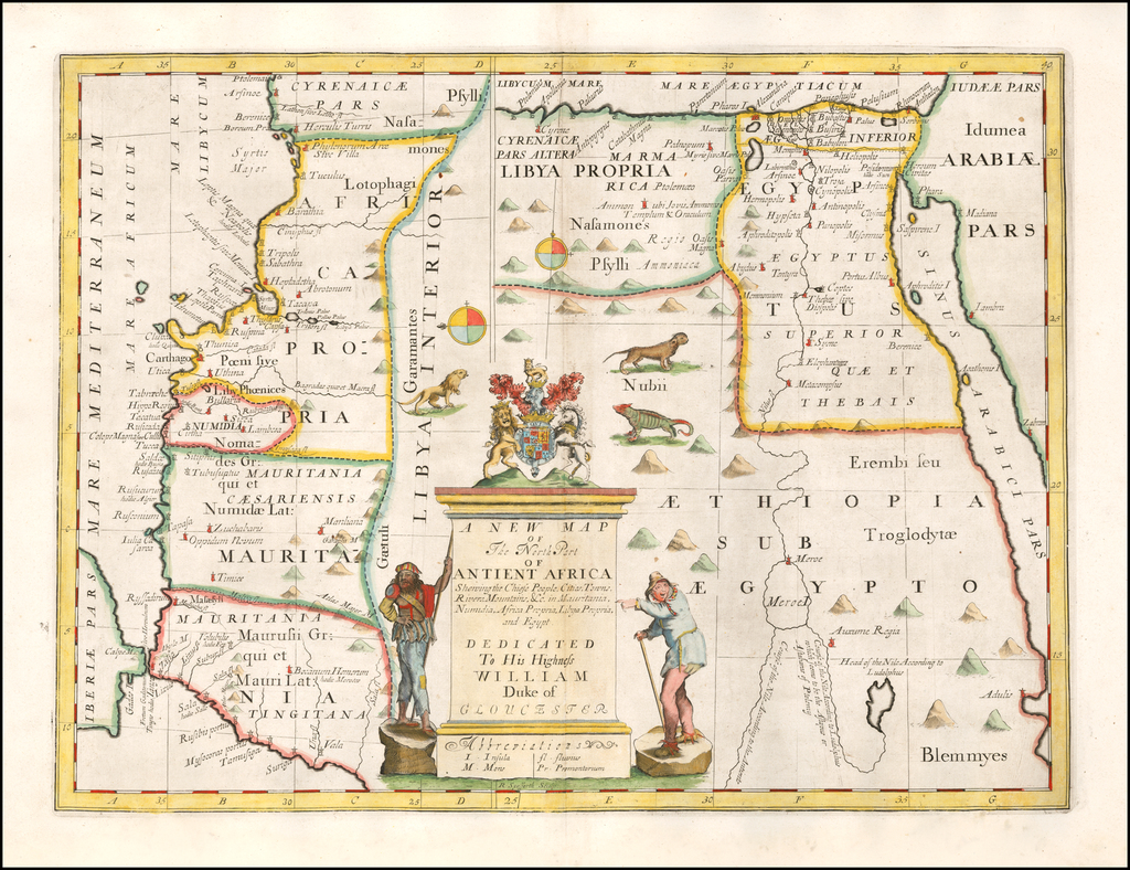 A New Map of the North Part of Antient Africa Shewing the Chief People, Cities, Towns, Rivers, Mountains &c . . . Dedicated to his Highness William Duke of Glocester By Edward Wells