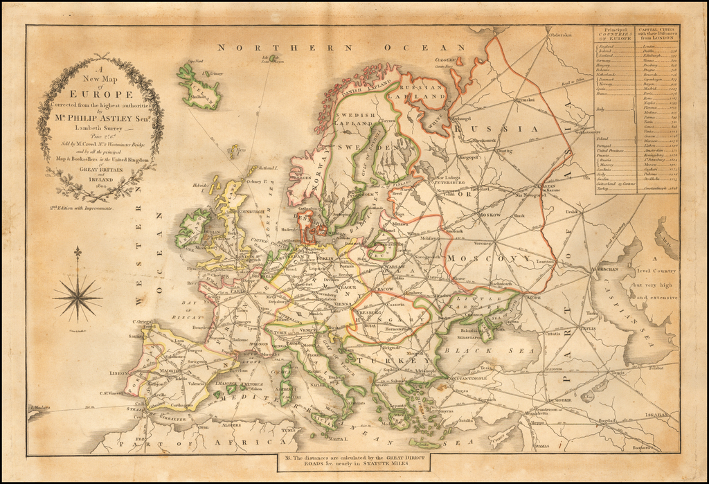 A New Map of Europe Corrected from the highest authorities by Mr. Philip Astley Senr. Lambeth Surrey.  Price 2s. 6d.  Sold by M. Creed No. 2 Westminster Bridge and by all the principal Map & Booksellers in the United Kingdom of Great Britain and Ireland 1804.   By Philip Astley