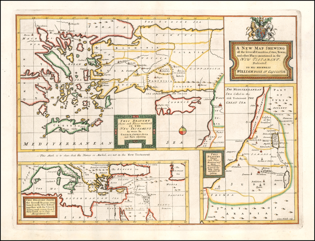 A New Map Shewing all the several Counties, Cities, Towns, and other Places mentioned in the New Testament . . .  [shows Cyprus] By Edward Wells