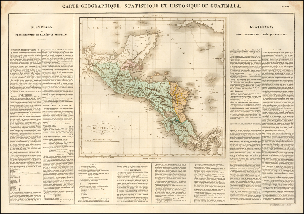 Carte Geographique, Statistique et Historique De Guatimala (wih Belize, Honduras, Nicaragua and Costa Rica) By Jean Alexandre Buchon