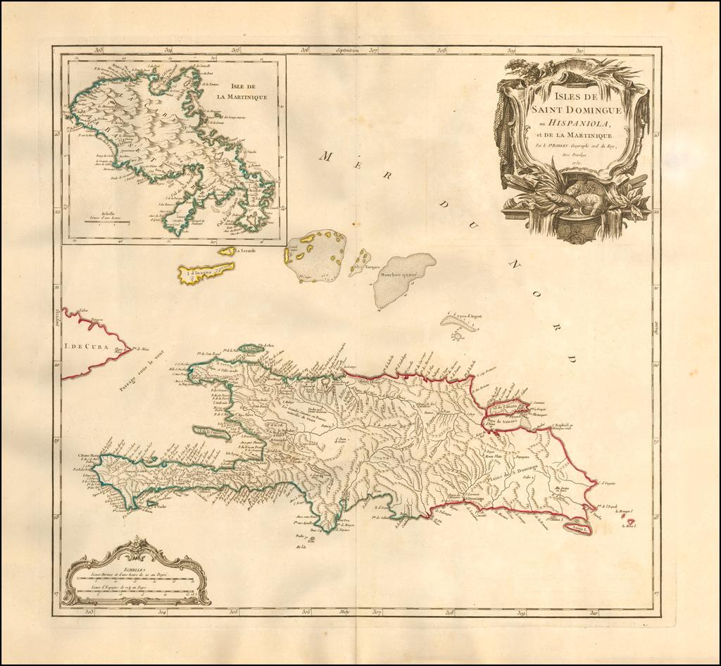 Isles de Saint Domingue ou Hispaniola et de la Martinique . . . 1750 By Gilles Robert de Vaugondy
