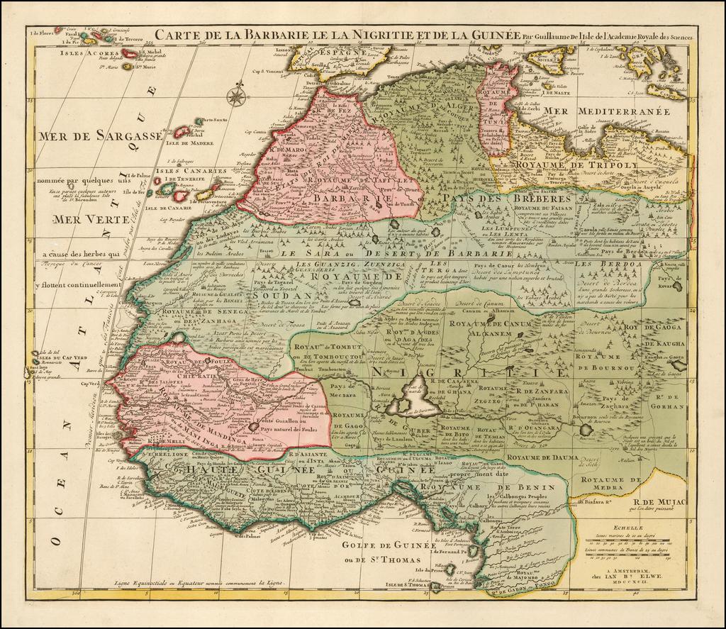 Carte De La Barbarie Le La Nigritie Et De La Guinee….MDCCXII By Jan Barend Elwe