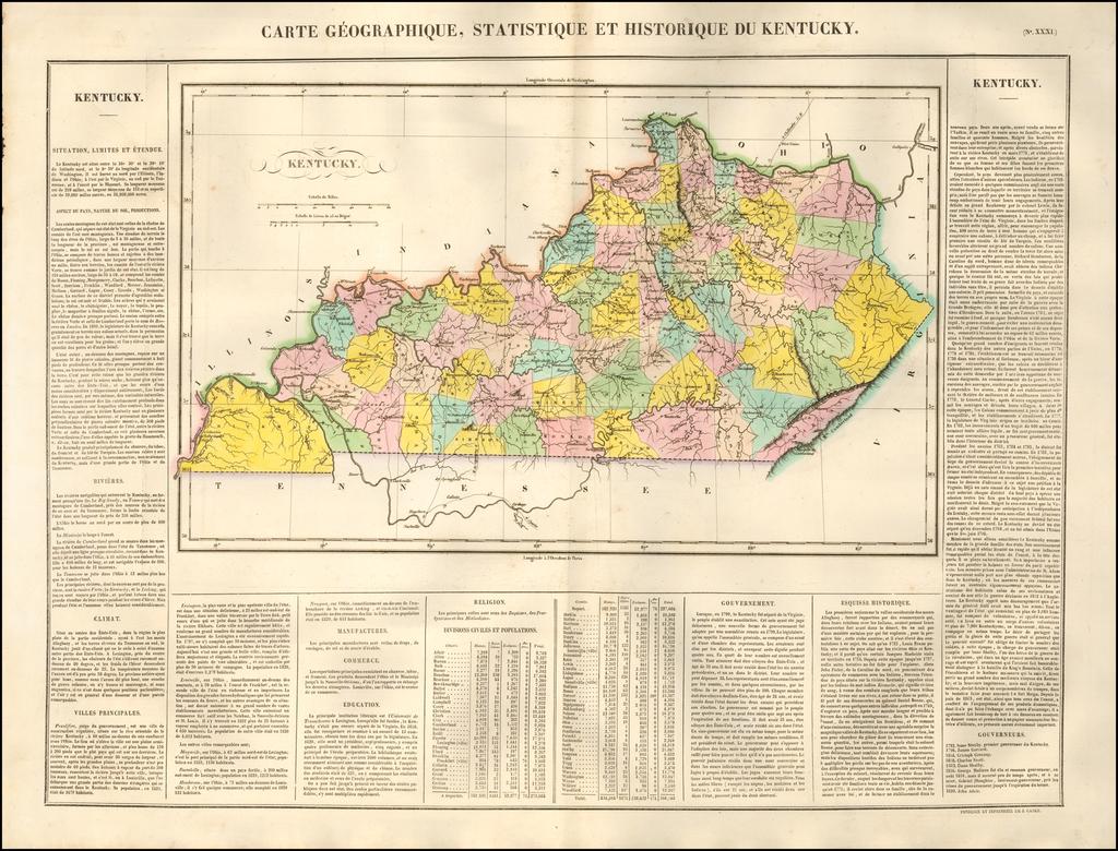 Carte Geographique, Statistique et Historique Du Kentucky By Jean Alexandre Buchon
