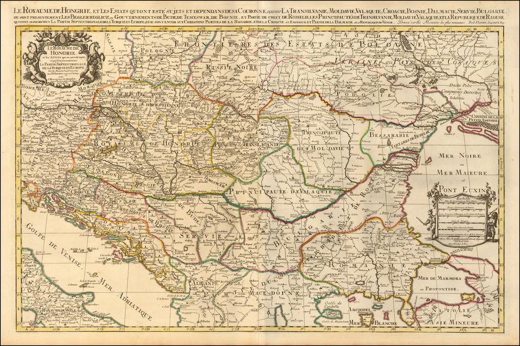 Le Royaume De Hongrie et les Estats qui en ont este sujets et qui font presentement La Partie Septentrionale de la Turquie en Europe ... By Alexis-Hubert Jaillot