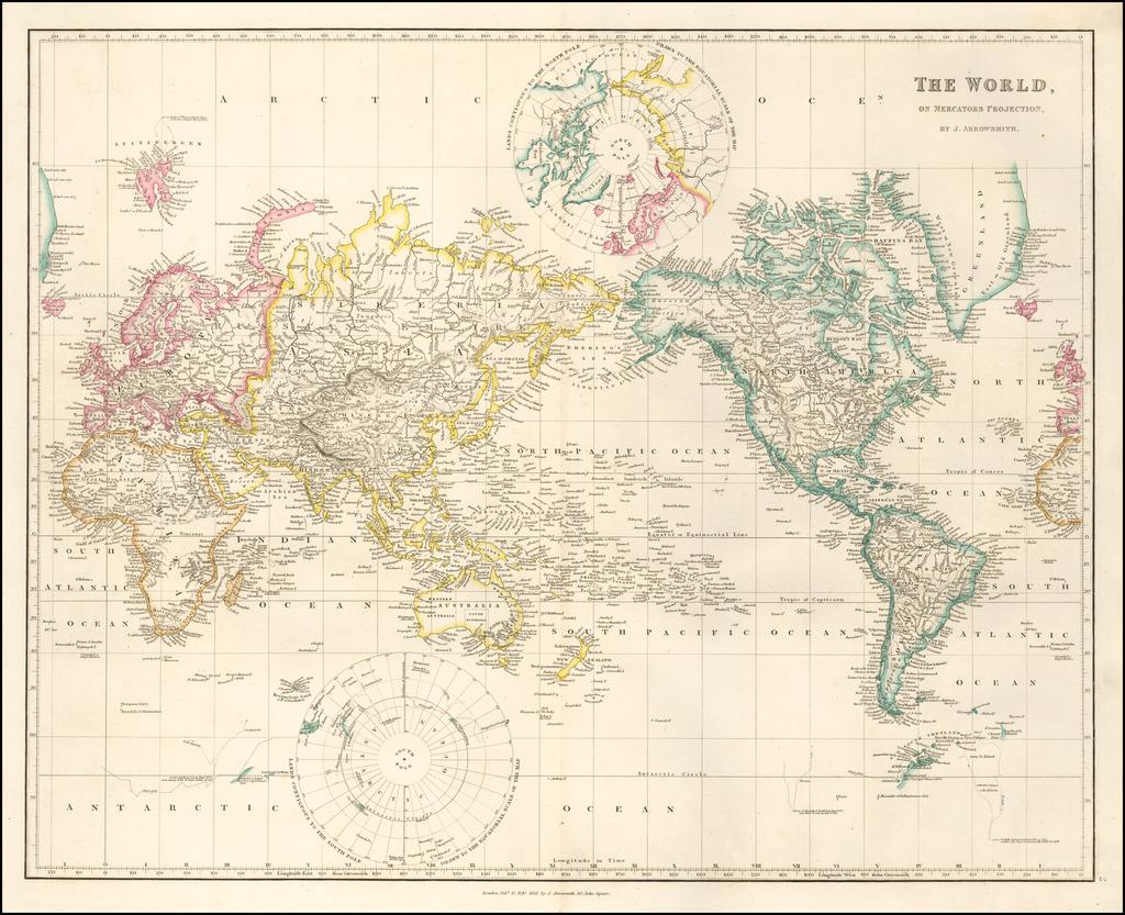 The World, On Mercator's Projection By John Arrowsmith
