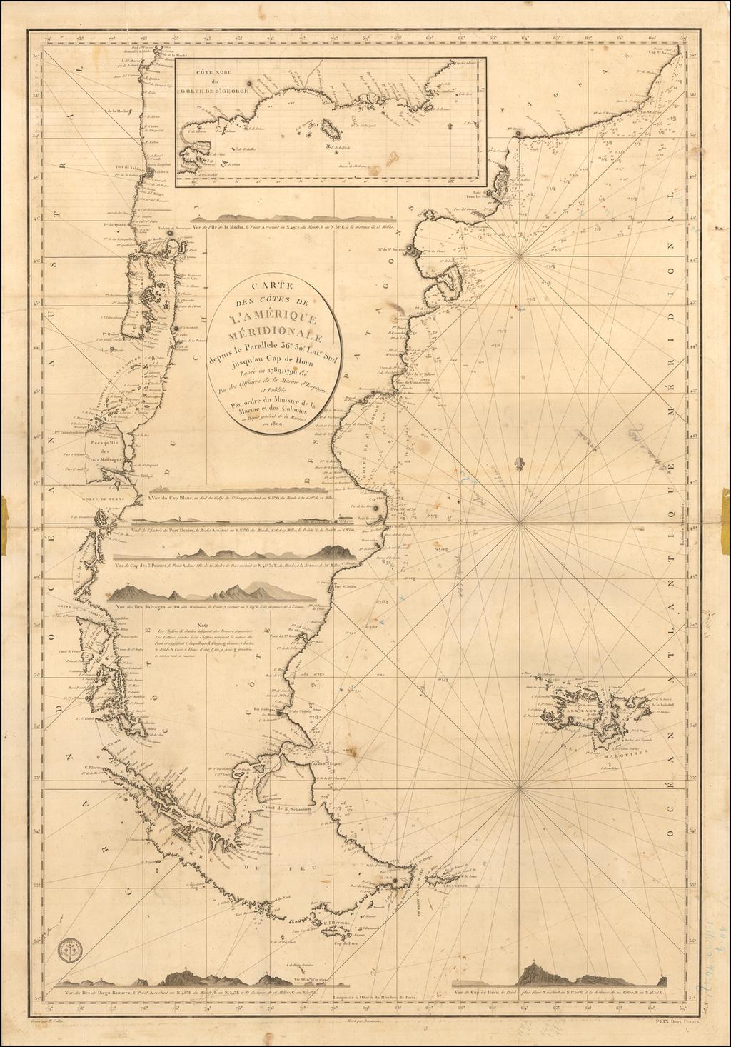 Carte Des Cotes de L'Amerique Meridionale depuis le Parallele 36° 30' late. Sud jusqu'au Cap de Horn Levée en 1789, 1790, &c. par des officiers de la Marine en 1800 By Depot de la Marine