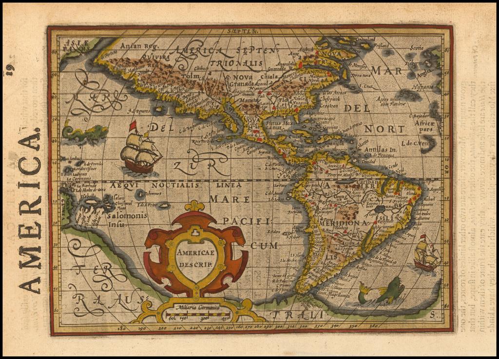 Americae Descrip  [with English text!] By Jodocus Hondius -  Gerard Mercator