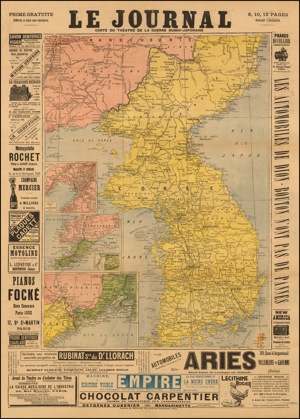 Carte Du Theatre de la Guerre Russo-Japonaise (French Automobile and Cycling Map of the verso) By Librairie Universelle