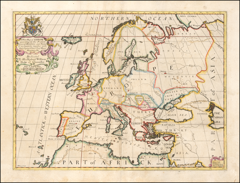 A New Map of Europe according to the Present General Divisions and Names…Capital Cities, Chief Rivers, Mountains &c...Dedicated to His Highness William Duke of Glocester By Edward Wells