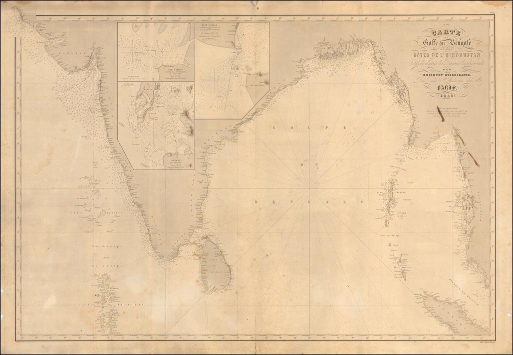 Carte du Golfe du Bengale et des Cotes de L'Hindoustan Dressee d'apres les Travaux les plus recents par Robiquet Hydrographe . . . 1855. By Aime Robiquet