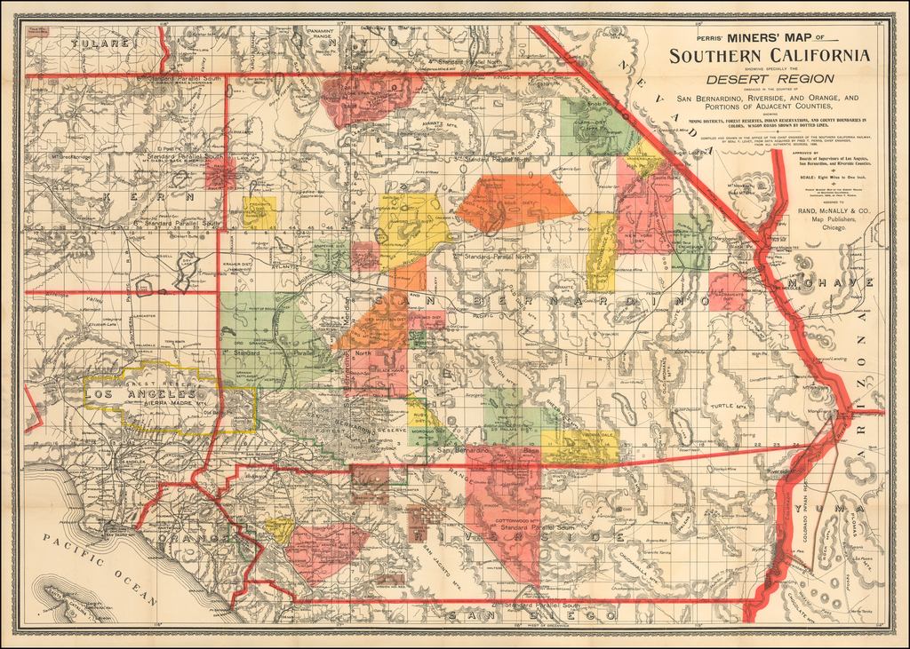 Perris\' Miners\' Map of Southern California Showing Specially ...