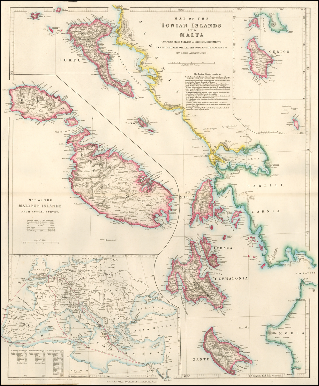 Map of the Ionian Islands and Malta Compiled From Surveys & Original Documents In the Colonial Office, The Ordinance Department. &c. By John Arrowsmith By Edward Stanford