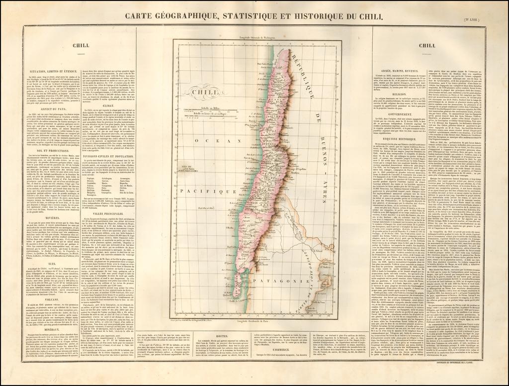 Carte Geographique, Statistique et Historique Du Chili By Jean Alexandre Buchon