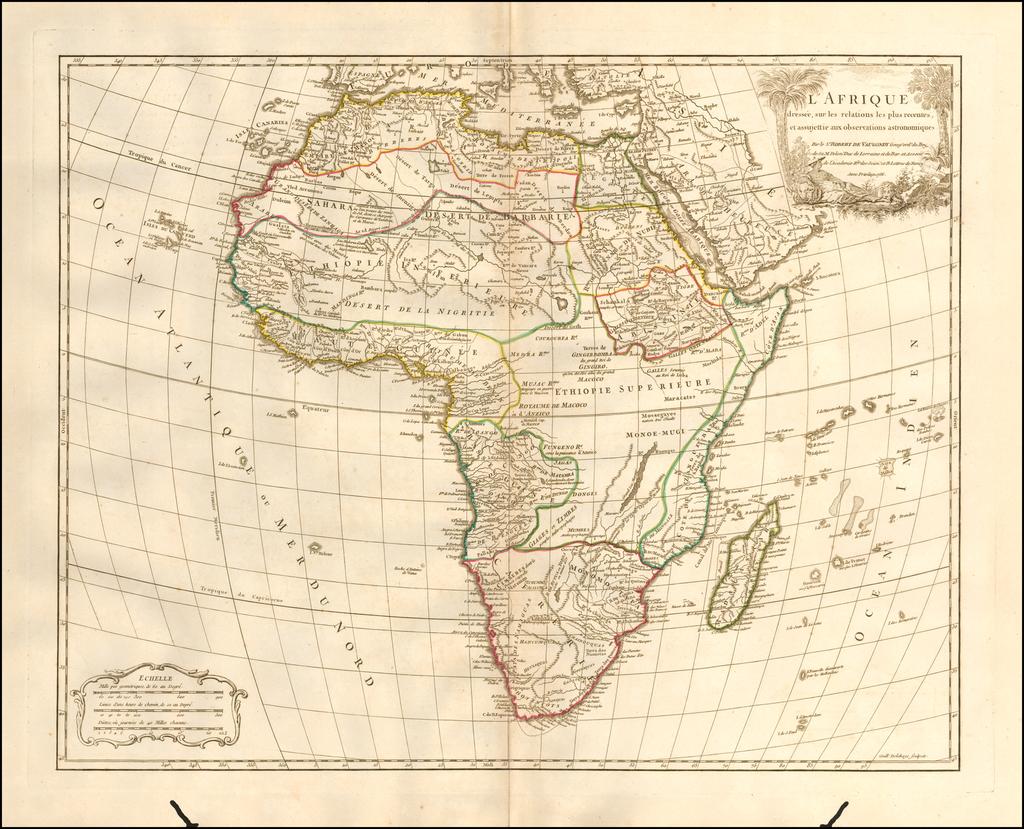L'Afrique dressee, sur les relations les plus recentes, et assujettie aux observations astronomiques . . . 1756 By Didier Robert de Vaugondy