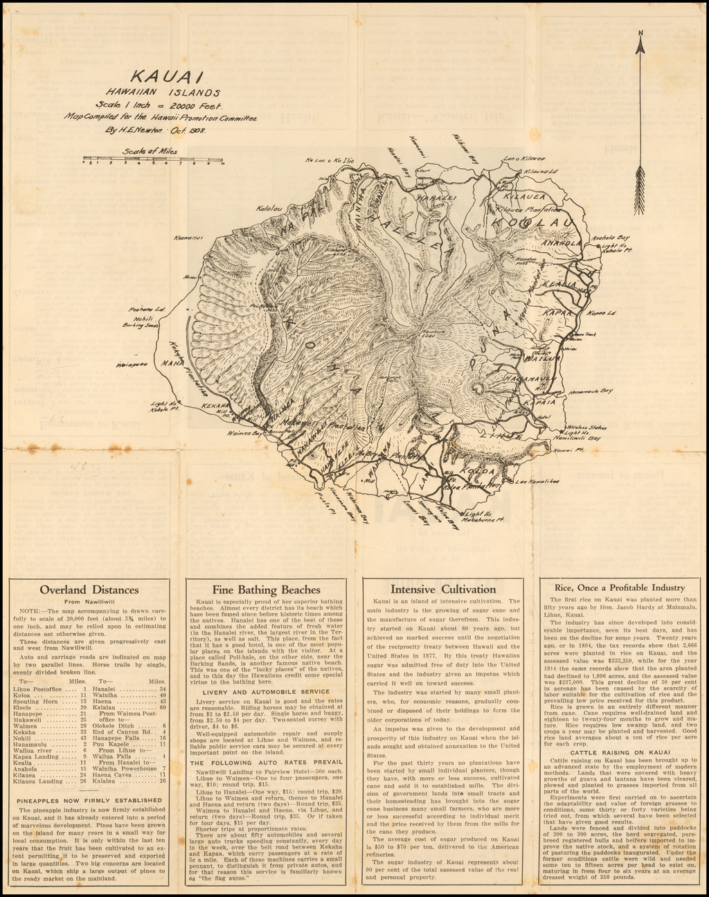 "Kauai Hawaiian Islands . . . . 1908  / IIsland of Kauai ""The Garden Isle"" Territory of Hawaii Map and Guide    (Large Topographical map of Kauai) By H. E. Newton"