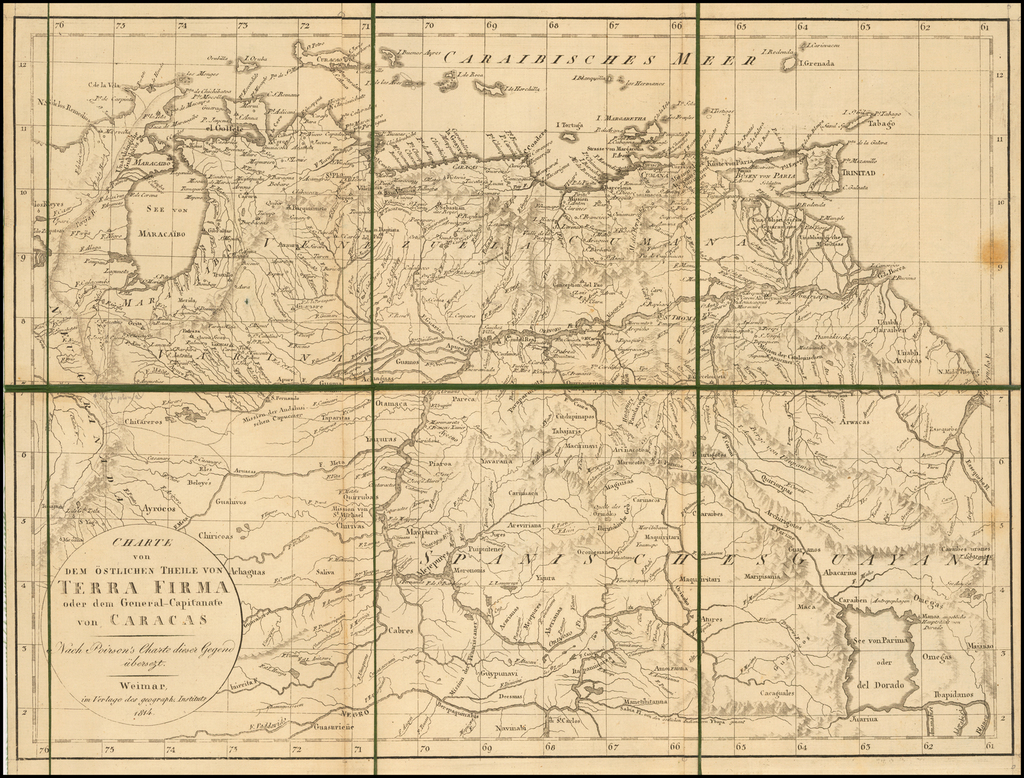 Charte von Dem Ostlichen Theile von Terra Firma oder dem General-Capitanate von Caracas -- Nach Poirson's Charte diser Gegend ubersezt . . . 1814 By Weimar Geographische Institut
