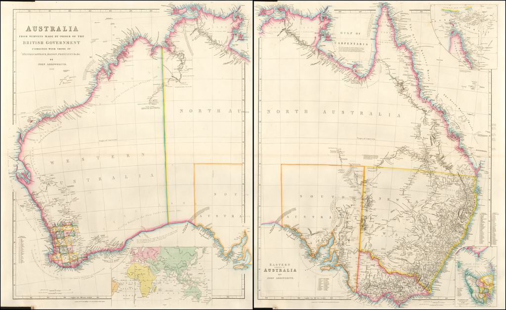 Australia From Surveys Made By Order of the British Government Combined with those of D'Entrecasteaux, Baudin, Freycinet &c.&c. By John Arrowsmith.  1856 By John Arrowsmith