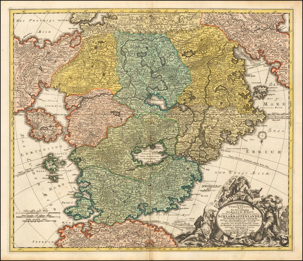 (Utopia -- )  Accurata Utopiae Tabula das ist der Neu entdeckten Schalck-Welt oder des so offt benanten, und doch nie erkanten Shlarraffenlandes . . .  By Johann Baptist Homann