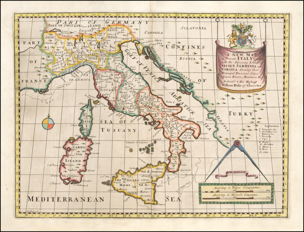 A New Map of Present Italy, together with the Adjoyning Islands of Sicily, Sardinia and Corsica, Shewing thier Principal Divisions, Cities, Towns, Rivers, Mountains, &c. By Edward Wells