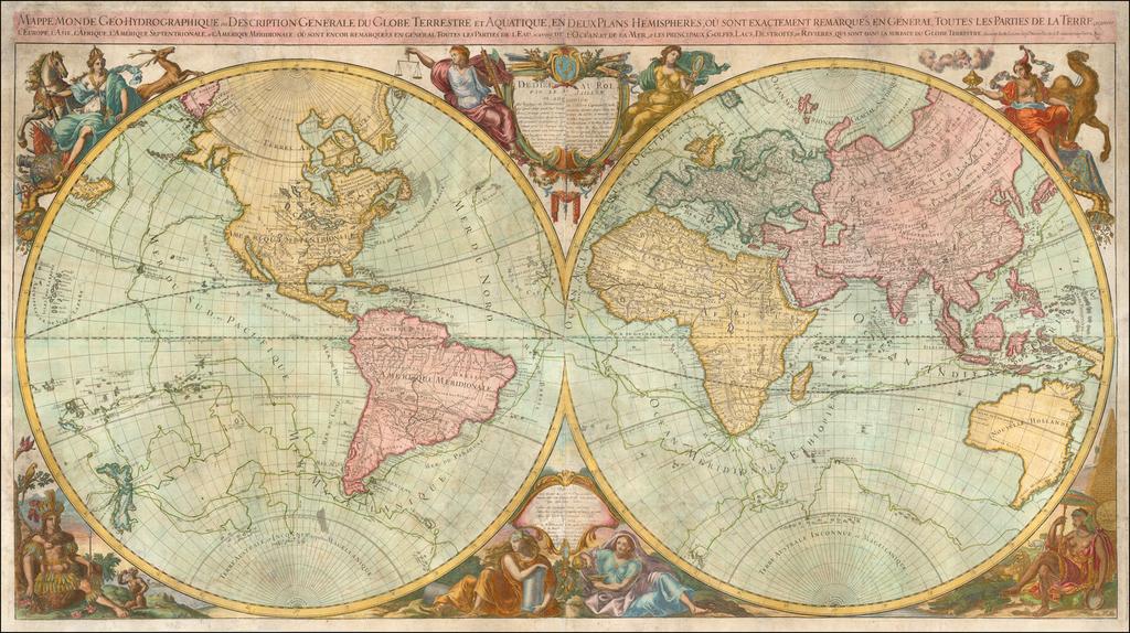 Mappe-Monde Geo-Hydrographique ou Description Generale du Globe Terrestre et Aquatique, en Deux Plans Hemispheres, ou Sont Exactement Remarques en General Toutes les Parties De La Terre; scavoir  l'Europe, l'Asie, l'Afique, l'Amerique Septentrionale, et l'Amerique Meridionale:  ou sont encor remarquees en general toutes les Parties delL'Eau, scavoire de l'Ocean, et de la Mer, et les principaux Govles, Lacs, Destroits, et Rivieres, qui sont dans la surface du Globe Terrestre . . . 1782 By Louis Brion de la Tour / Louis Charles Desnos / Alexis-Hubert Jaillot